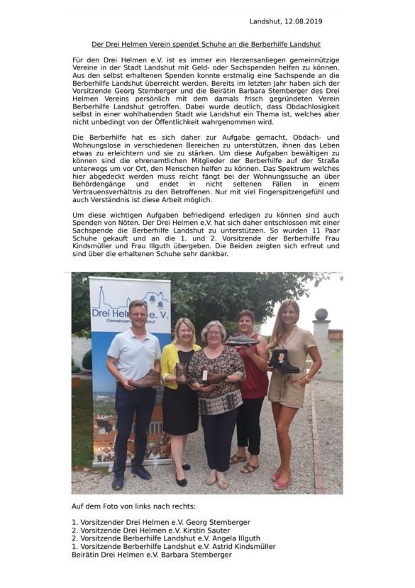 20190812 PM Spendenübergabe Drei Helmen Landshut Berberhilfe